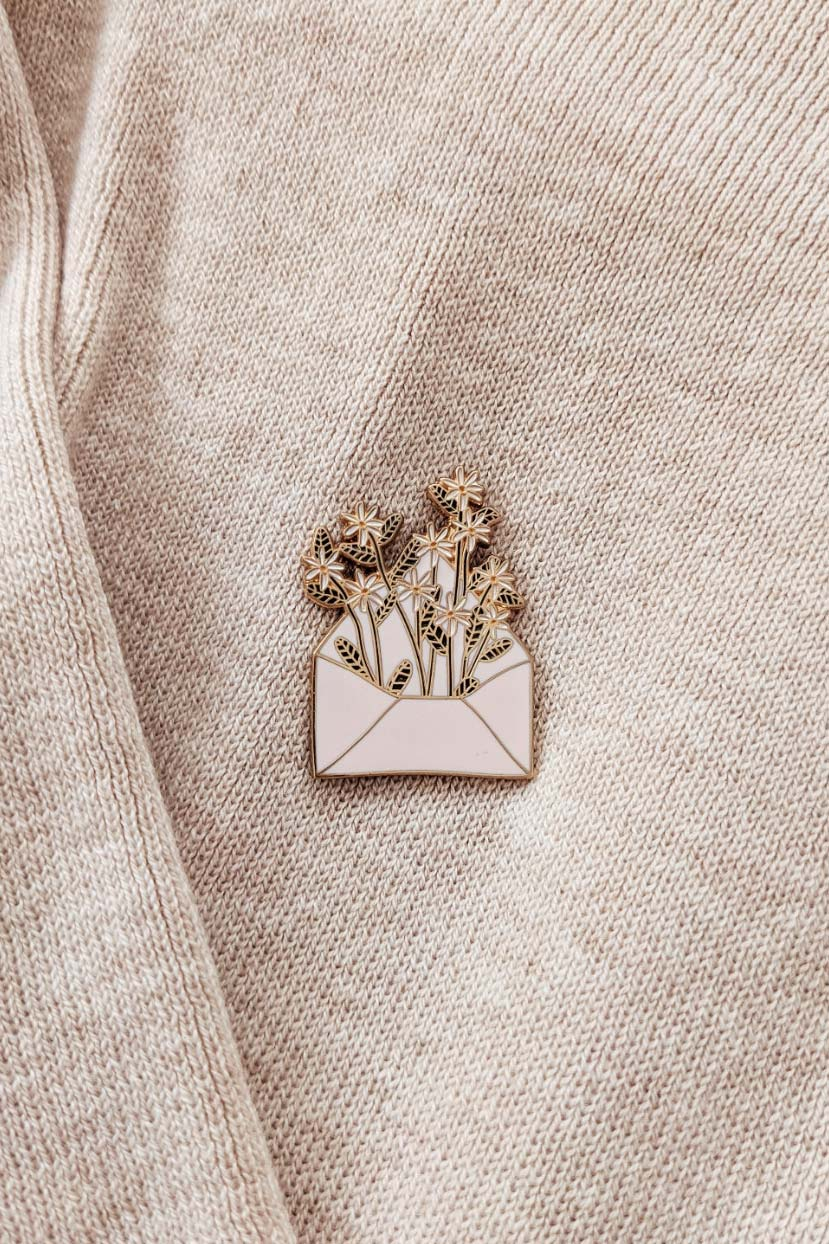 Flower for you enamel pin by mimi & august
