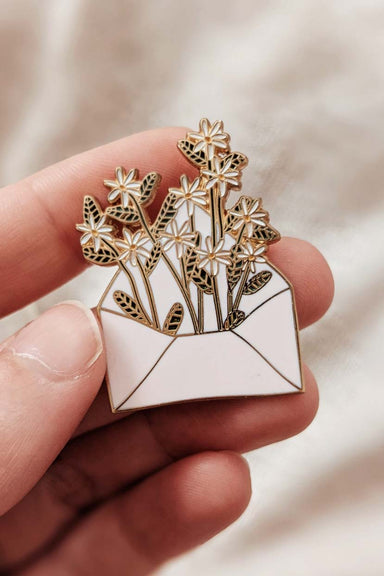 Letter full of flowers enamel pin by mimi & august