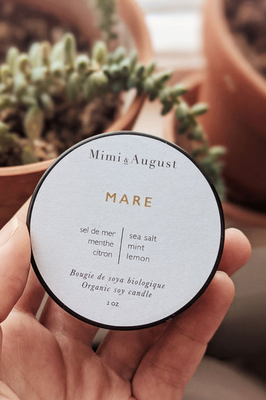 Mare 2oz handmade candle by mimi and august
