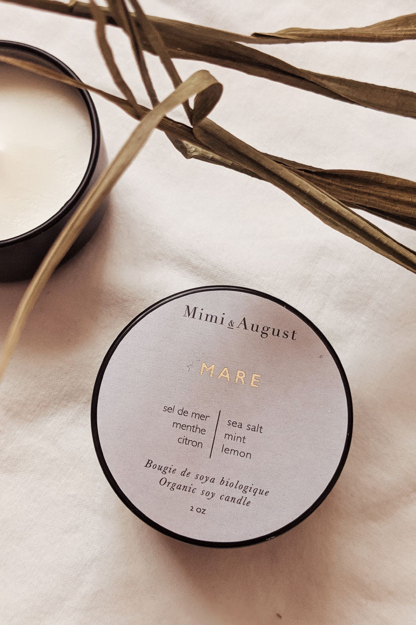 Mare - scented soy wax mini candle 2oz made in canada Mimi & August