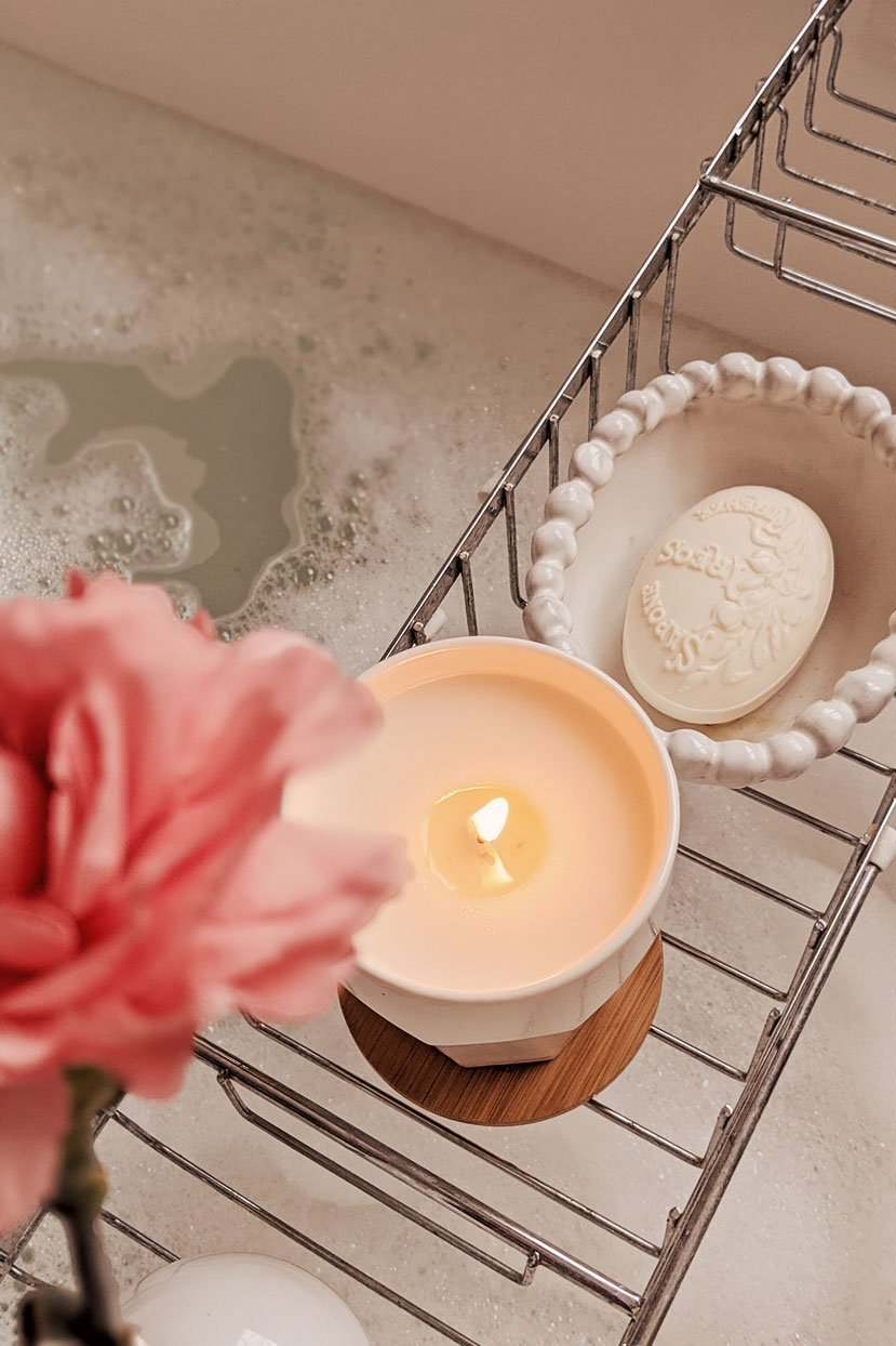 Mare scented soy wax candle in the bathroom by Mimi & August