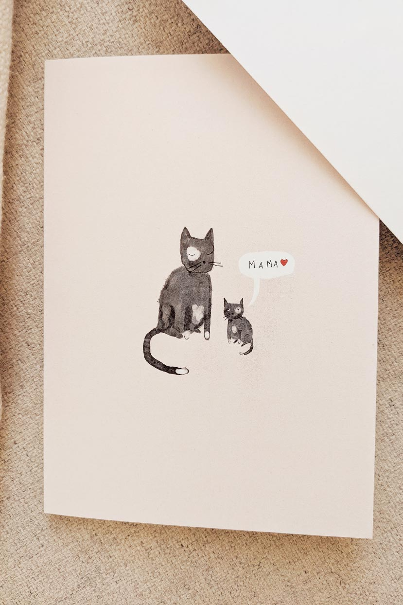 Mother and kitten greeting card for mother's day by mimi & august