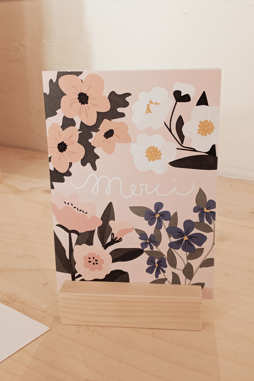 Belle carte de voeux de Merci Flowers par Mimi & august