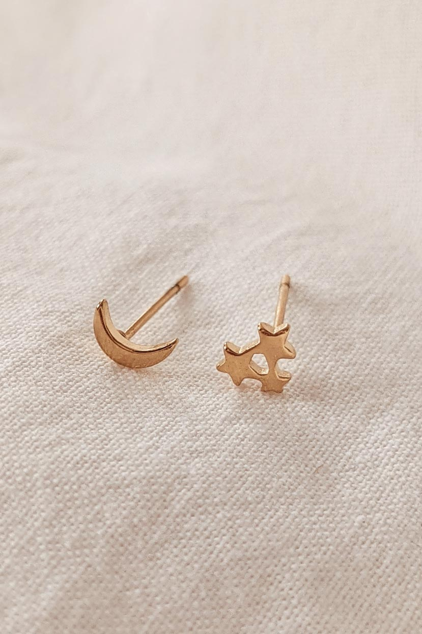 Moon Star - High Quality Gold Earrings by Mimi & August
