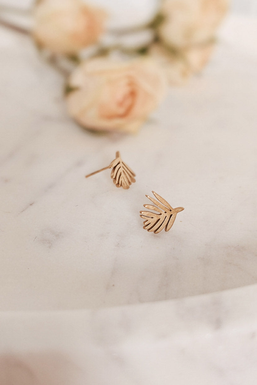 Palm Leaf - Gold Earrings