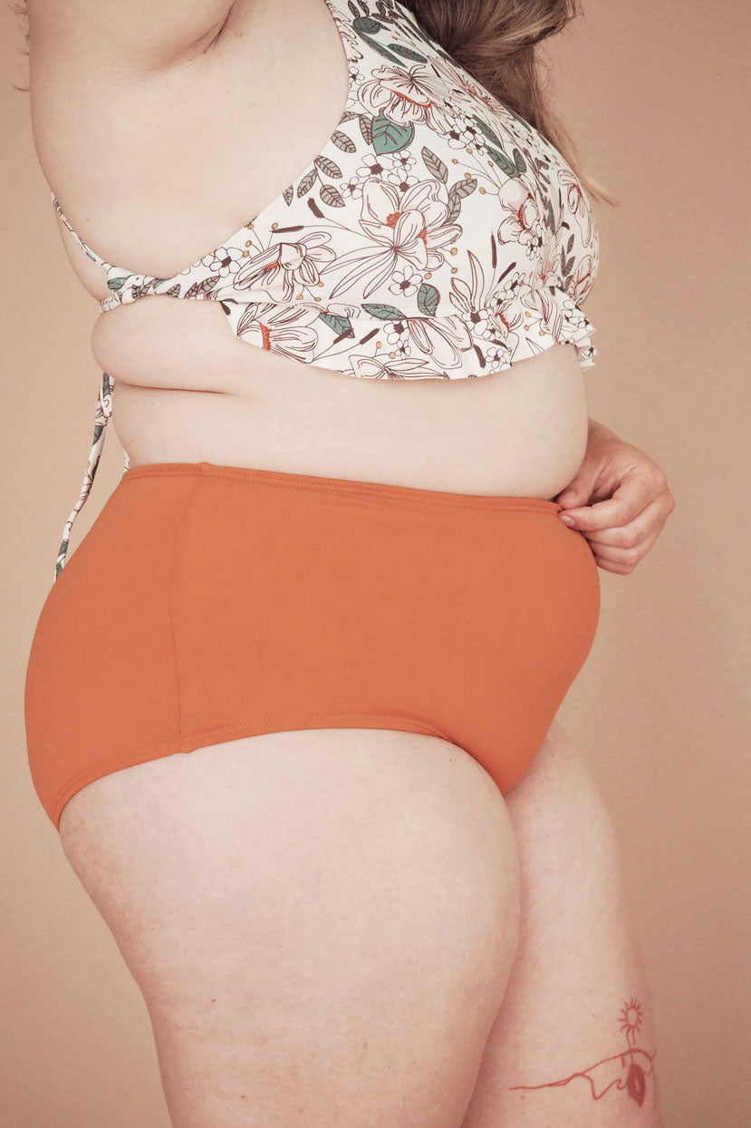 high waist bikini bottom designed in canada by mimi & august