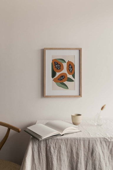 Papaya fruit wall art print home decor by mimi & august