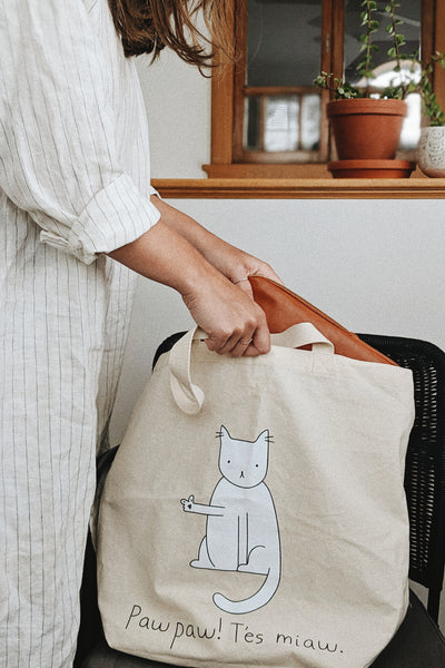 Reusable tote bag made for cat lovers by mimi & august