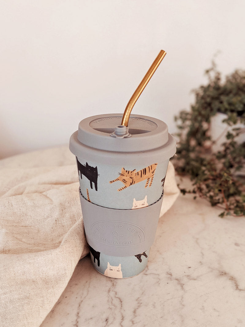 Kitten reusable bamboo coffee cup with straw by mimi and august