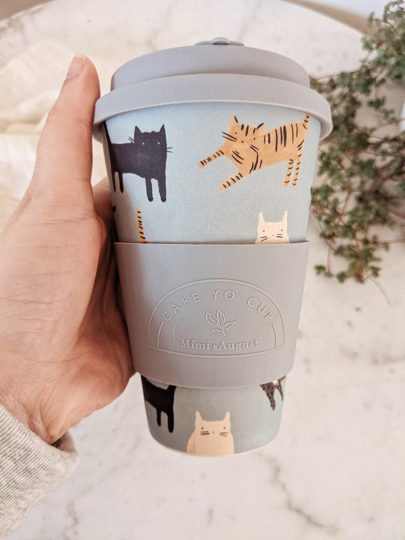 Pepito Kitty Cat Reusable Bamboo Cafe Yo Cup Coffee to go Mimi and August