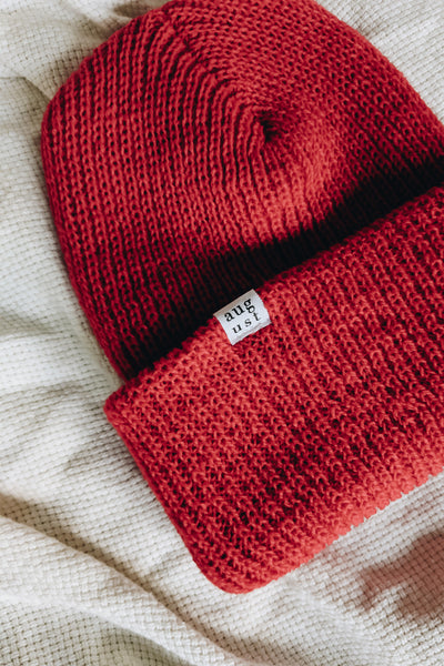 Closer look at the Bright Red Watch Cap Beanie by Mimi & August