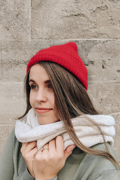 Women smiling wearing the Bright Red Watch Cap Beanie by Mimi & August