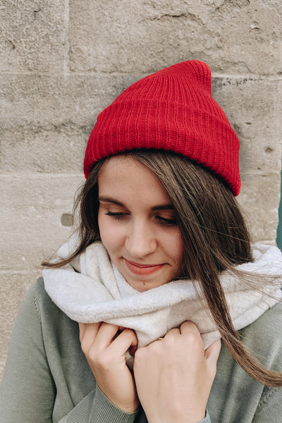 women wearing the Bright Red Watch Cap Beanie by Mimi & August