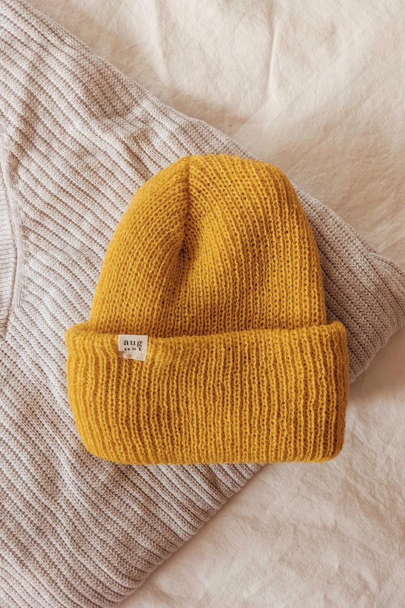 Saffron Yellow Watch Cap Unisex Beanie Hat Cold Weather Mimi & August