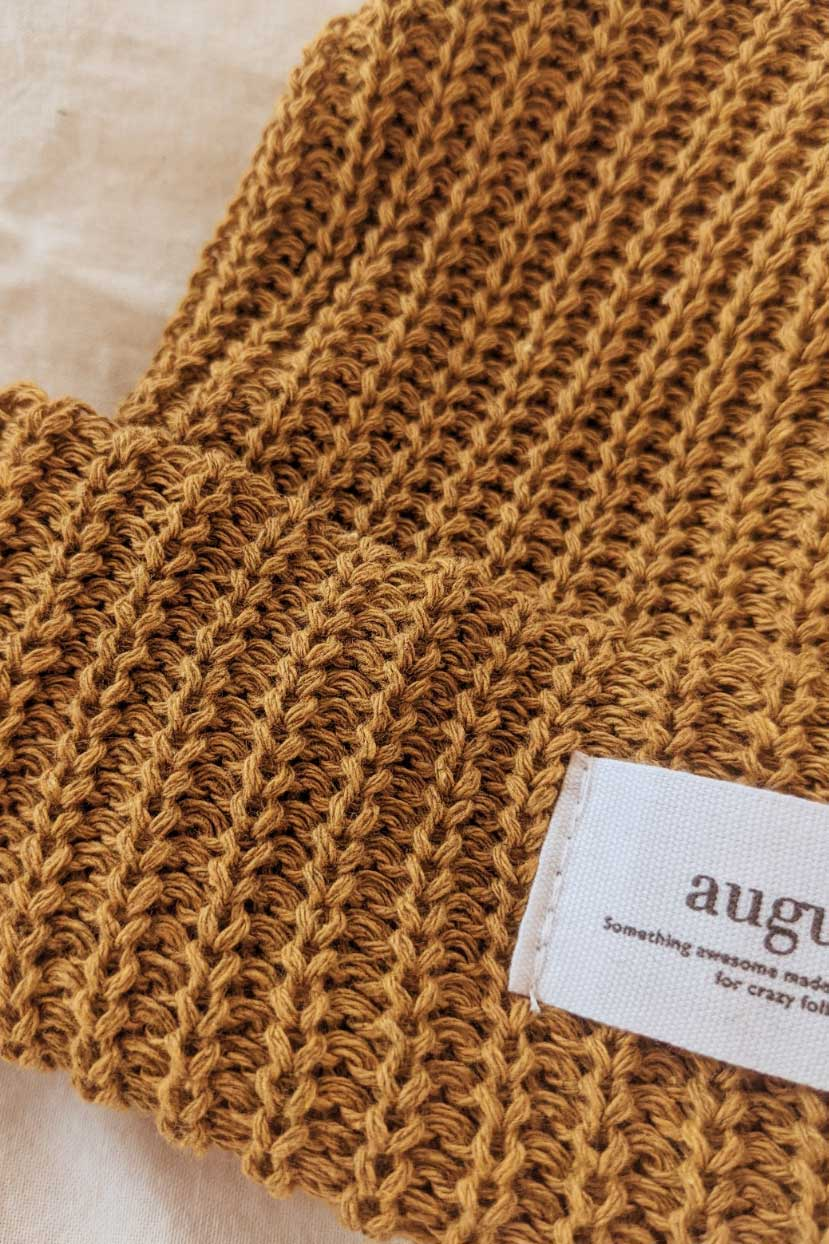 closer look at the sienna waffle organic cotton watch cap beanie