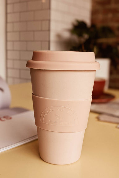 Beautiful Soft Pink Reusable Bamboo Café Yo Cup mimi & august