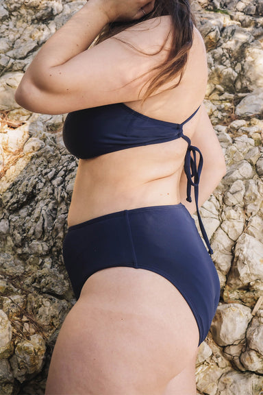 Tucan Navy High Leg Cut High Waist Bikini Bottom by Mimi & August