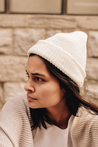 Women wearing the Natural Watch Cap Best Unisex Beanie Hat by Mimi & August