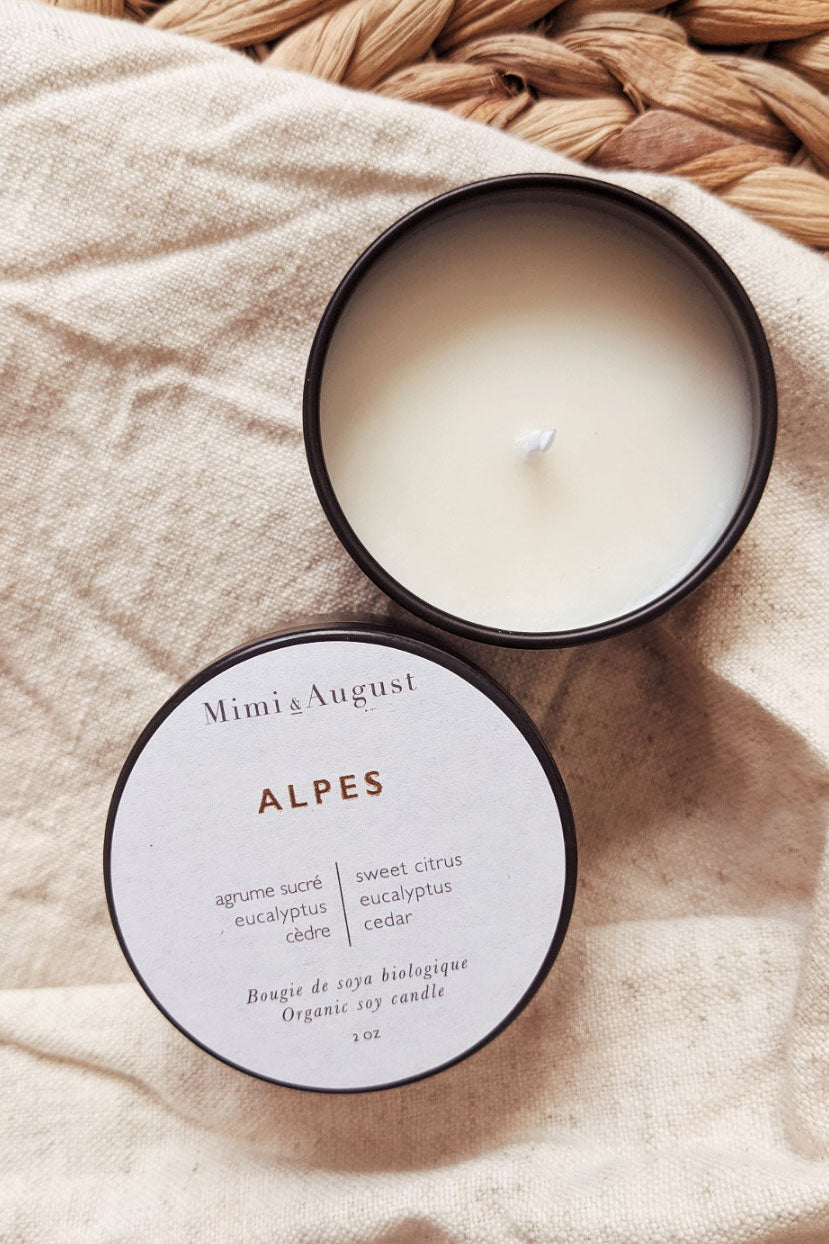 alpes mini candle 2oz scented soy candle by mimi and august