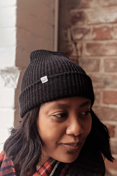 Black Fluffy Watch Cap Unisex Beanie Hat Cold Weather Mimi & August