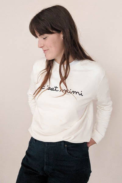 women wearing the c'est mimi sweatshirt size M by mimi & august