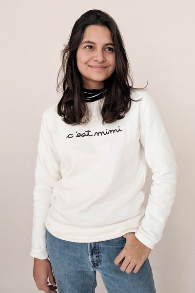 women wearing the c'est mimi sweatshirt size S by mimi & august