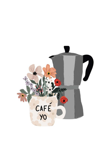 Café yo morning coffee with flowers illustration by mimi & august