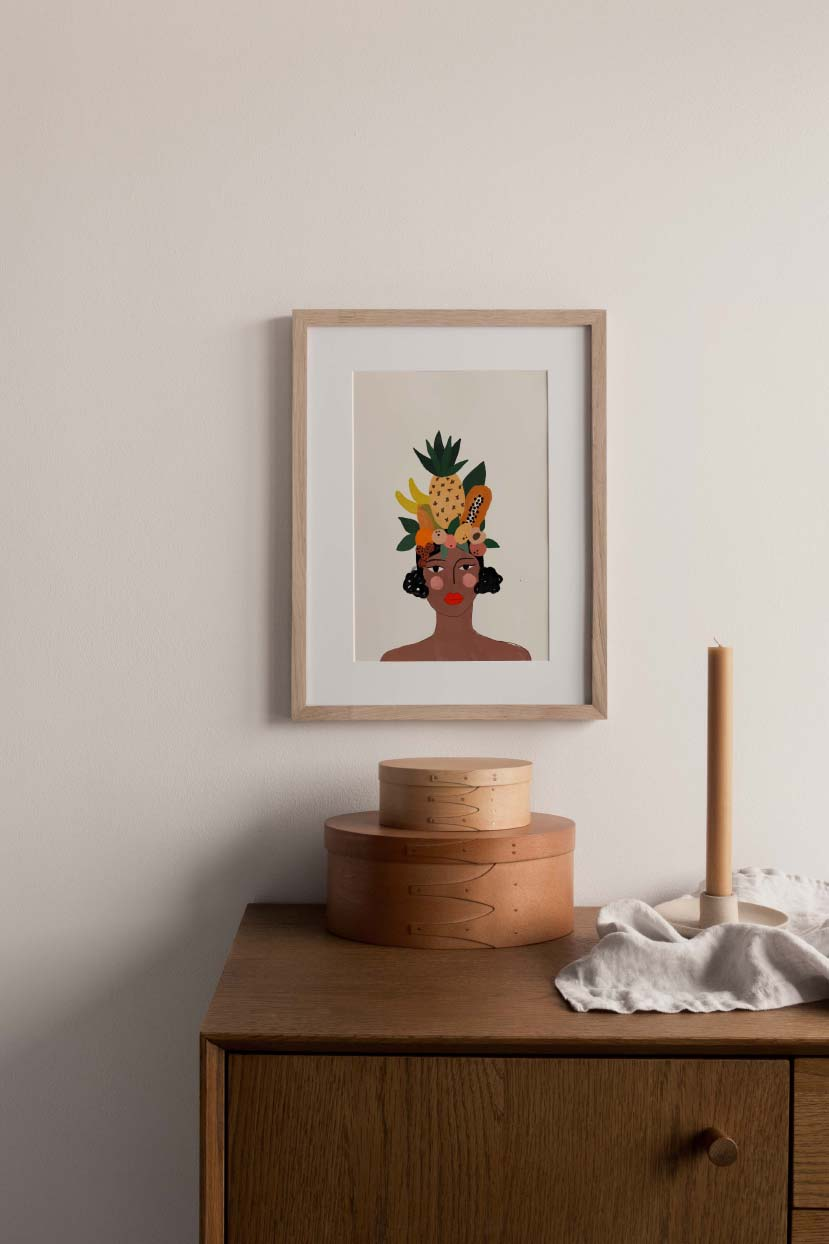 Beautiful women with tropical fruits wall art print home decor by mimi & august