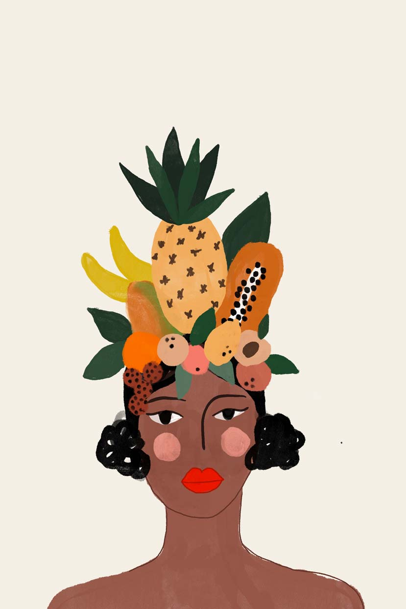 coco mango exotic fruit illustration by mimi & august