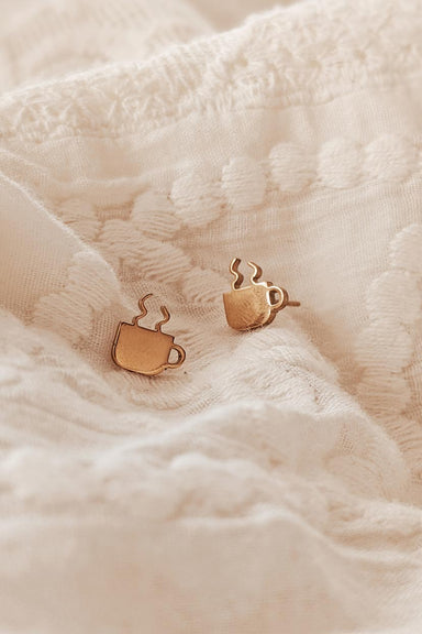 Coffee Cup - High Quality Gold Earrings by Mimi & August