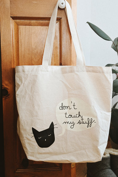 cat lover tote bag dont touch my stuff by mimi & august