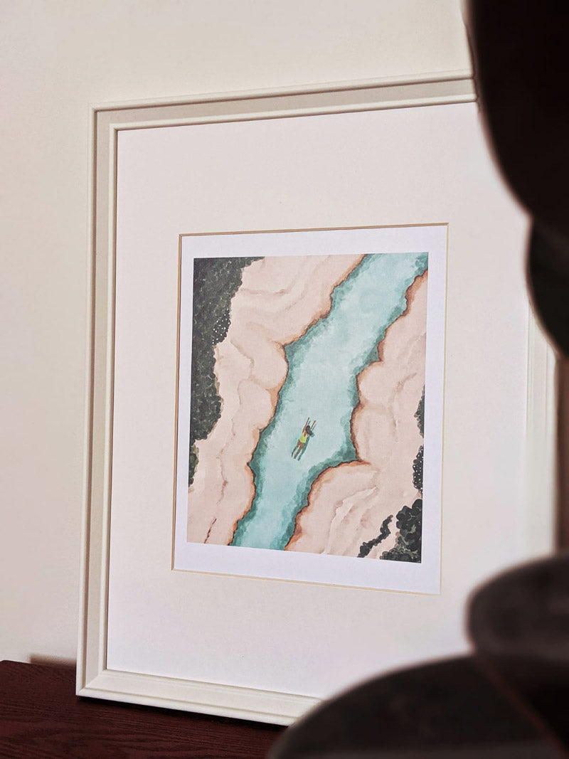 Beautiful javari river illustration framed by mimi and august