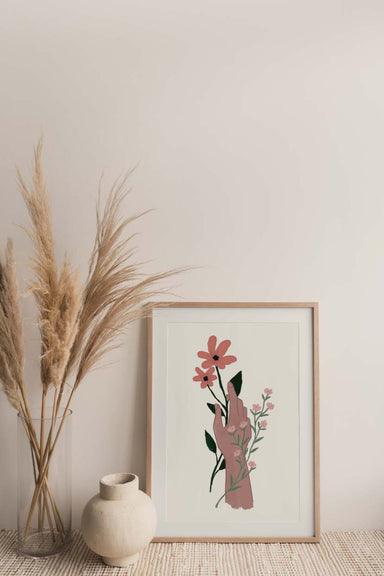 beautiful hands with flowers wall art print home decor by mimi & august