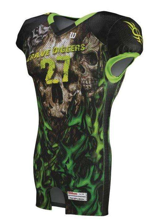 Wilson Adult Sublimated Football Jersey - Grave Digger - League Outfitters