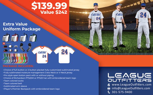 League Outfitters Premier Baseball Uniform Package - League Outfitters