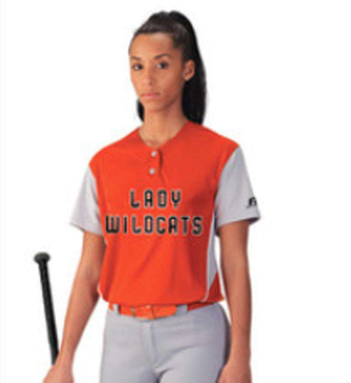 Russell Women's 2-Button Color Block Jersey - League Outfitters