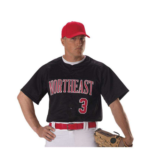 Alleson Adult Warp Knit Full Button Baseball Jersey - League Outfitters