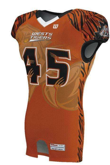 5b1636dbc Wilson Youth Sublimated Football Jersey - West Tigers - League Outfitters