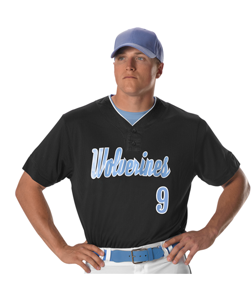 Alleson Two Button Mesh Baseball Jersey with Piping - League Outfitters