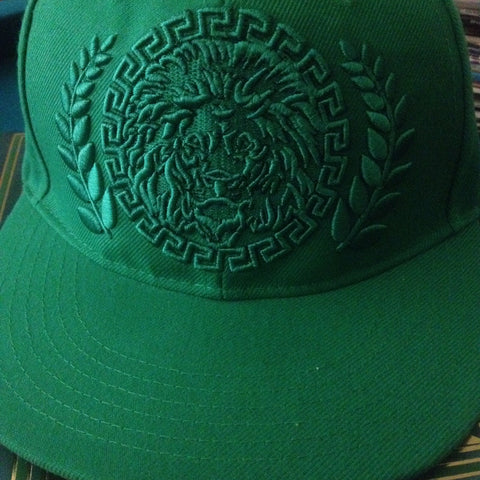 Green Embroidery Iconic Afrikan Lion Snapback Cap - by Khenti-Renaissance