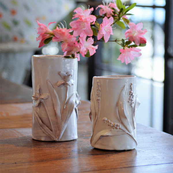 Floral relief vases by Cabell's Designs. Daffodil medium vase and Lavender small vase