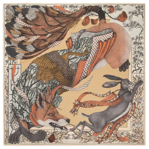 """The Cunning Kitsune"" Wool/Silk Scarf by Sabina Savage"