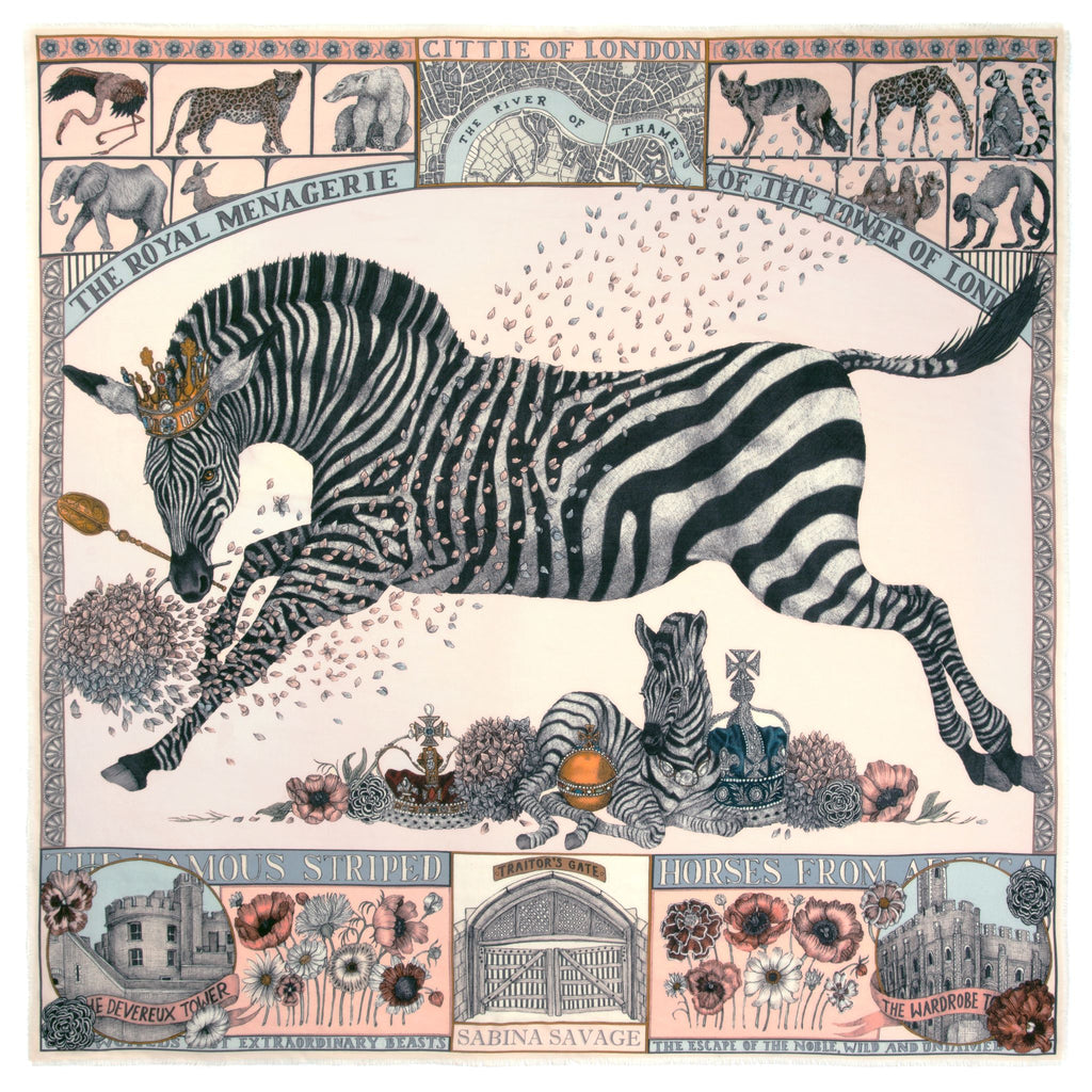 """The Royal Striped Horses"" Wool/Silk Scarf"