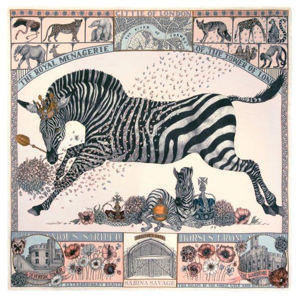 """The Royal Striped Horses"" Wool/Silk Scarf by Sabina Savage"
