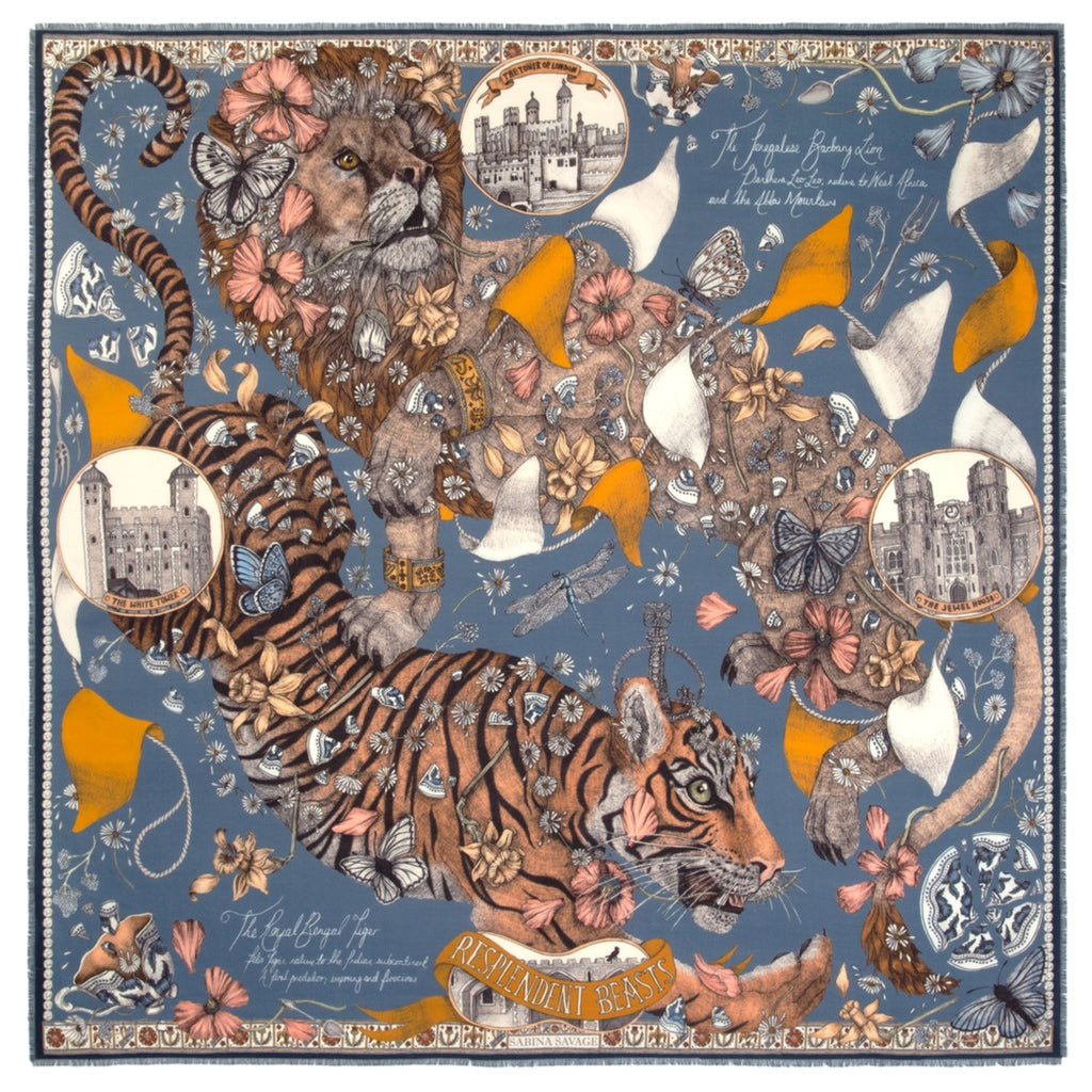 """The Lion and Tiger's Tea Party"" Wool/Silk Scarf by Sabina Savage"