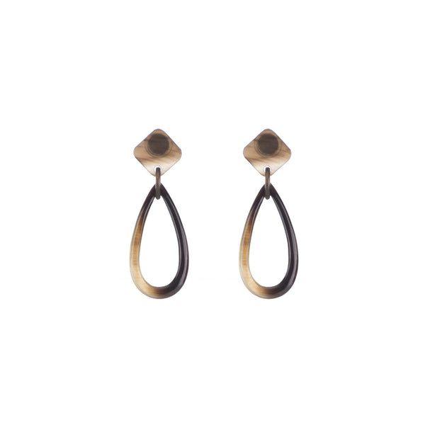 Oval Drop Horn Earrings