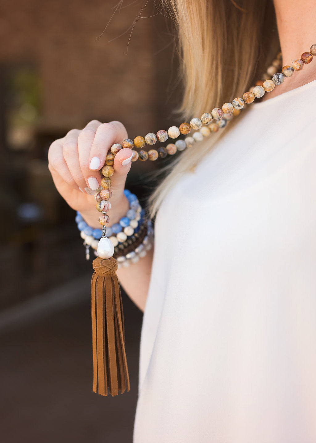 Brown Suede Tassel Necklace Agate Beads