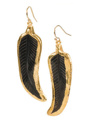 Amber Horn Feather Earrings
