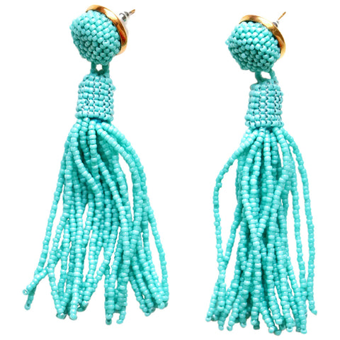 Aqua Ombre Tassel Earrings