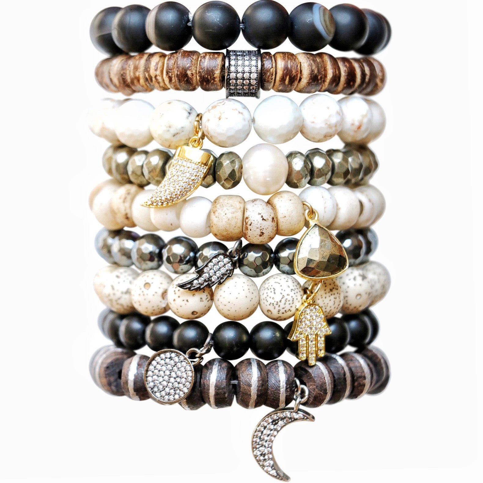 Molly Jane Designs Pyrite + Pearl Charm Bracelet